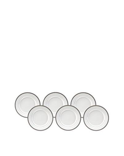 10 Strawberry Street Set of 6 Luxor Platinum 9 Luncheon Plates