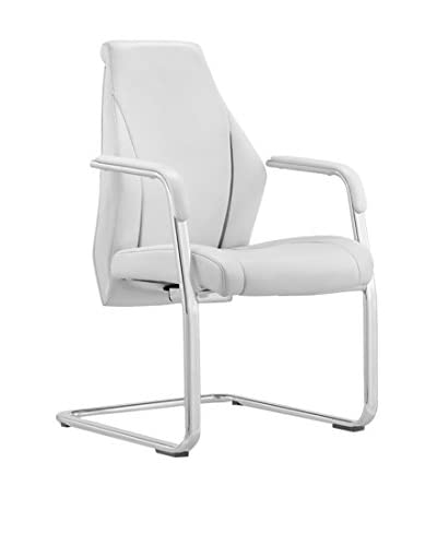 Whiteline Stanford Visitor Office Chair, White/Silver