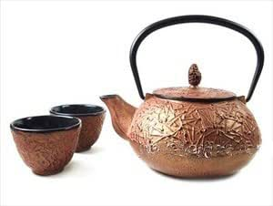 Large Japanese Cast Iron Tea Pot Tea Set /Pine Copper 24 oz