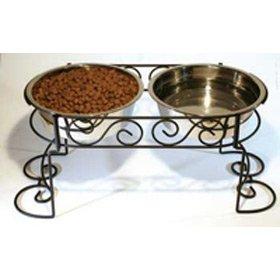 Stainless Steel Scroll Work Double Diner from Ethical Pet