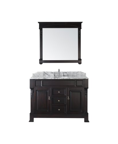Virtu USA GS-4048-DW Huntshire 48-Inch Single Sink Bathroom Vanity with Mirror and Ceramic Basin, Dark Walnut Finish