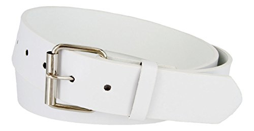 B570 Mens Genuine Leather Belt With Silver Roller Buckle- *VARIOUS COLORS*(WHT,L)