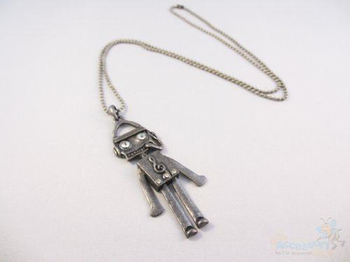 Silver Vintage Robot Necklace pendant Costume Fashion Jewellery With Gift Bag - 3 FOR 2 ON ALL JEWELLERY