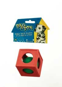 JW Pet Ball in Box Rubber Dog Chew Toy