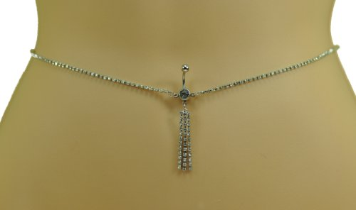 Navel Piercing Crystal Waist Chain | Womens Gypsy Belly Bar Ring Belt | 316L SS in Silver Colour | Adjustable Size Waist Chain | Navel Piercing Required