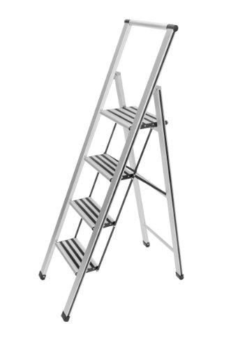 WENKO-601013100-Alu-Design-Klapptrittleiter-4-stufig-Haushaltsleiter-Aluminium-435-x-1585-x-55-cm-Aluminium
