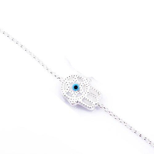 Hamsa Star of David White Bracelet