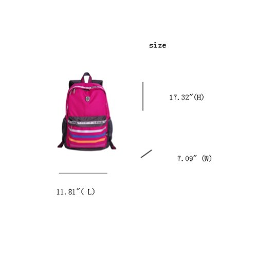 Fineplus Childrens Innocence Stripe Light-weight Nylon School Daypacks Rose Red