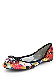 Jewel Embellished Abstract Print Bow Pumps