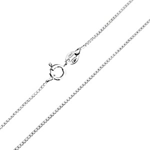 Bling Jewelry 925 Sterling Silver Unisex Box Link Chain Necklace 19 Gauge Italy