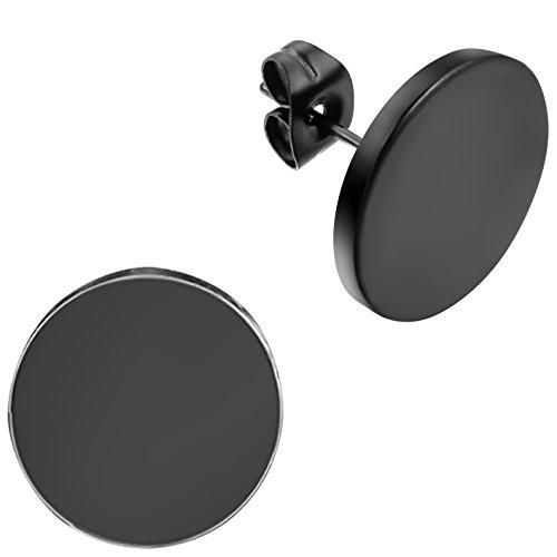 Flongo-14mm-Edelstahl-Gestt-Stecker-Ohrringe-Ohrstecker-Ohrhnger-Schwarz-Charm-Charme-Elegant-Herren