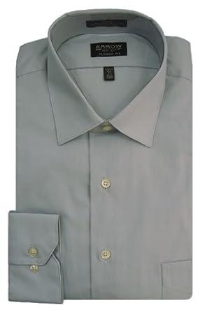 Arrow Men's Long Sleeve Classic Fit Wrinkle Free Poplin Dress Shirt, Seal Grey, 16 - 34/35