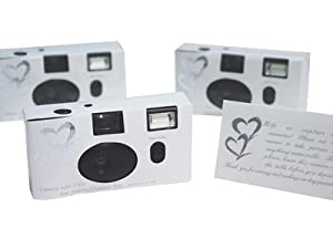 20 SILVER HEART Wedding Disposable CAMERA Favors