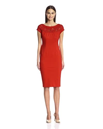 Alexia Admor Women's Sheath with Embroidered Lace Yoke