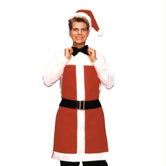 Rubie's Costume Santa Apron and Hat, Red/White, One Size