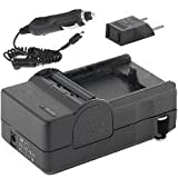 Samsung HMX-F90 Camcorder Battery Charger (110/220v with Car & EU adapters) - Replacement Charger for Samsung IA-BP210E Battery -