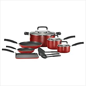 T-fal C112SC74 Signature Nonstick Expert Interior Thermo-Spot Heat Indicator Dishwasher Safe 12-Piece Cookware Set, Red