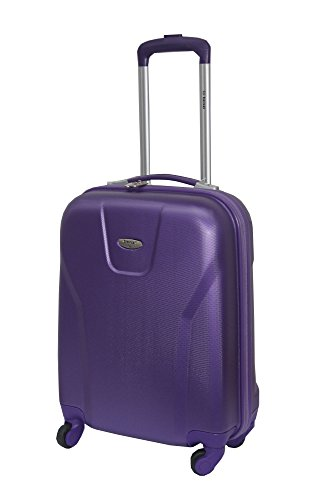 ABS Valigia rigida bagaglio a mano, Carry On Roller, design a 55 x 40 x 20 Cages Viola Purple 4604 carry on