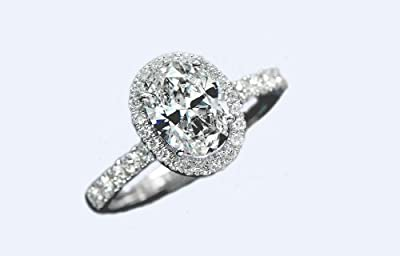 925 Sterling silver 18K platinum plated 1.5Ct simulated diamond oval-cut Austrian crystal engagement ring UK Size