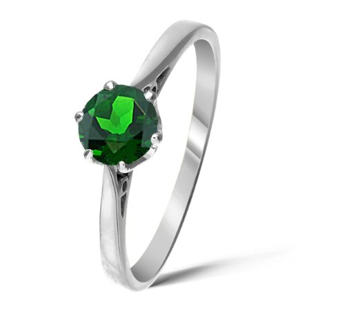 Trendy 9 ct White Gold Ladies Solitaire Engagement Ring with Chrome Diopside 0.85 Carat