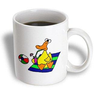 All Smiles Art Ducks - Funny Yellow Duck Sitting On Beach Towel Sipping Drink - Mugs - 11Oz Mug - Mug_200094_1