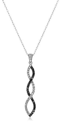 "10K White Gold Diamond Twist Pendant Necklace (1/4 cttw), 18"""