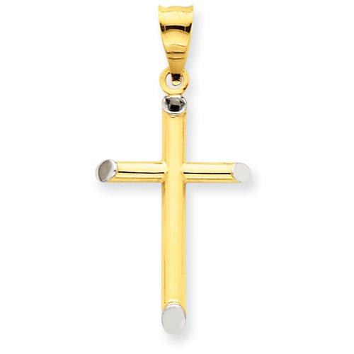 14k & Rhodium 3-D Hollow Cross Pendant