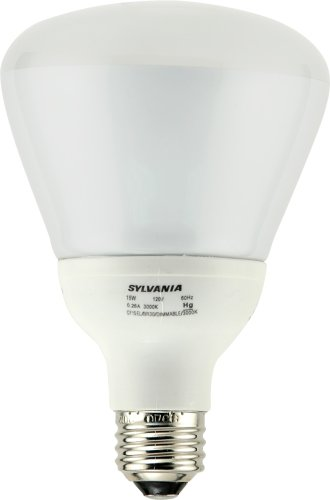 Sylvania 29667 15W Compact Fluorescent Dimmable Reflector with Integral 120V Ballast Medium Screwbase, Warm White #CF15BR30DIMMABLE3000KBL