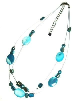 Tribe aqua oval shell two strand necklace
