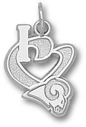 St. Louis Rams Sterling Silver ''I Heart'' Logo 1/2'' Pendant
