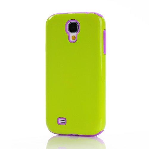 Meaci® Samsung Galaxy S4 I9500 Combo Hybrid Defender Bumper High Impact Body Armorbox Hard Pc&Silicone Case (Orange&Purple)