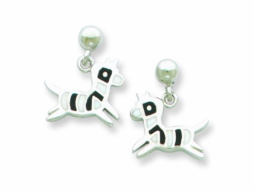 Sterling Silver Zebra Resin Earrings LIFETIME WARRANTY