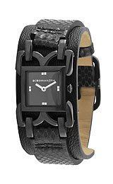 BCBGMAXAZRIA Leather Releve Cuff-strap Black Dial Women's watch #BG6301
