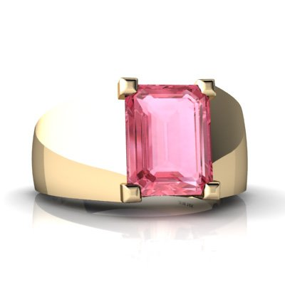 Created Pink Sapphire 14ct Yellow Gold Men's Ring