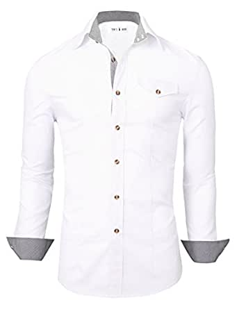 Tom's Ware Chemises habillees-Inner coton a carreaux Bouton vers le bas-Hommes TWNEL565S-319S-WHITE-US S