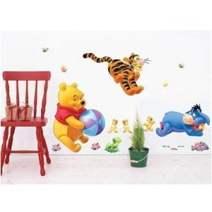 Winnie the Pooh & Tiger Play Ball Peel & Stick Nursery Kids Room Wall Art Stickers