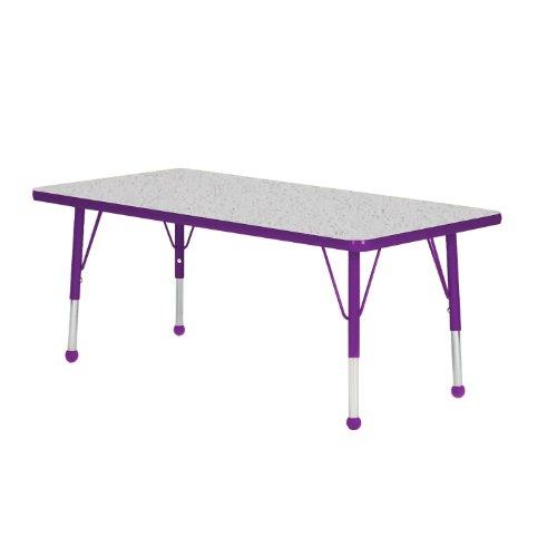 "Mahar 42"" X 72"" Rectangle Table Top Color: Gray Nebula, Edge Color: Purple, Leg Height: Standard 21""-30"", Glide Style: Self-Leveling Nickel"