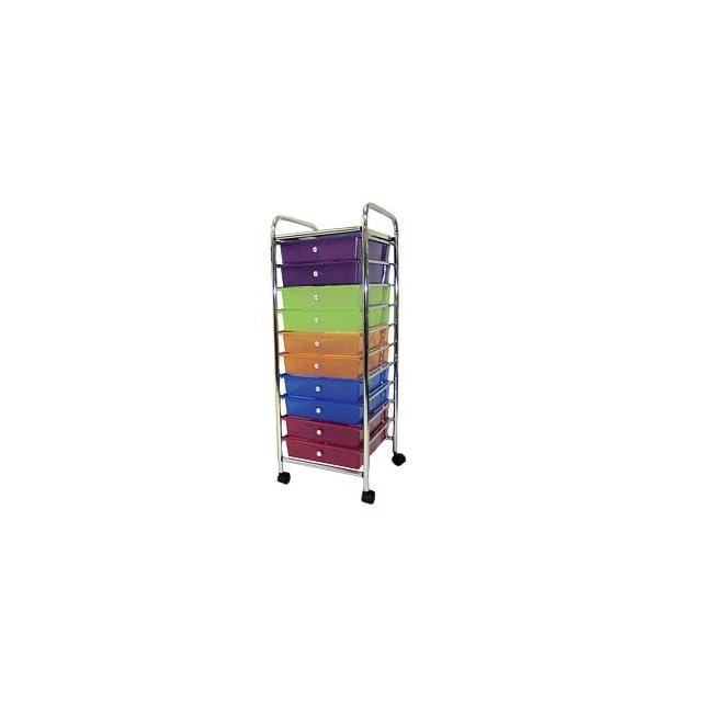 10 Drawer Mobile Organizer Multi Colored Drawers