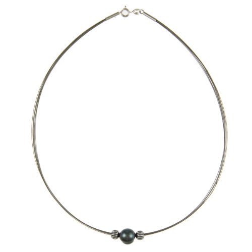 Kabella Silver and Steel Black Freshwater Pearl Necklace (10-11 mm)