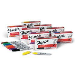 Sharpie Fine-Point Markers - Classroom Set of 96 kitsan1758056san25025 value kit sharpie grip porous point stick permanent water resistant pen san1758056 and sharpie accent tank style highlighter san25025