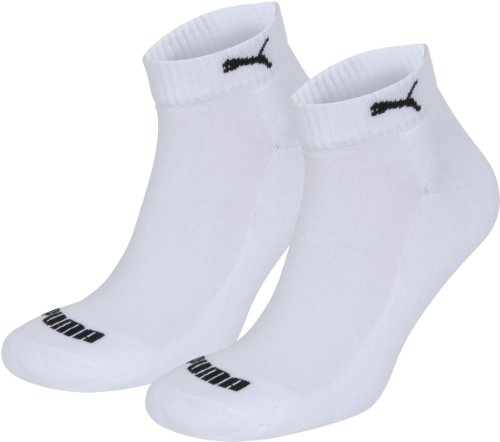 2 pairs of Puma Quarter Socks with terry sole Gr. 35 - 46 Unisex 1/2 cush booties, color:white;konfektionsgröße:L