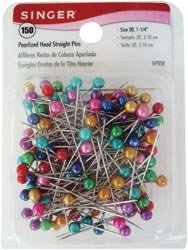 Singer Pearlized Head Straight Pins Size 20 150/Pkg ; 3 Items/Order