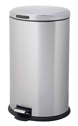 HomeZone VA40916A 40-Liter Stainless Steel Oval Step Trash Can (Step Garbage Can 13 Gallon compare prices)