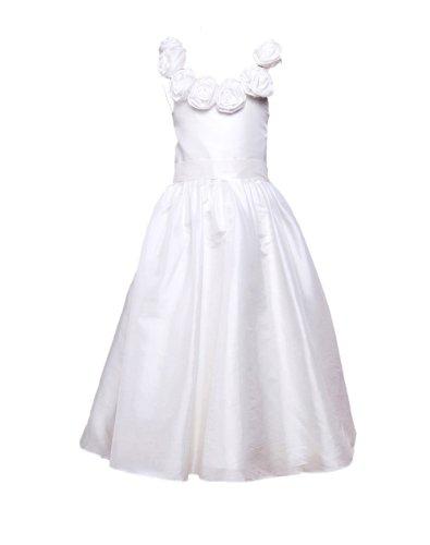Honeystore Girl'S A Line Taffeta 2014 Tea Length Pageant Flower Girl Dress Size Us10 Color White