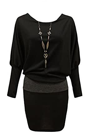 CANDY FLOSS LADIES BATWING JUMPER DRESS TOP WITH NECKLACE SIZE BLACK SM