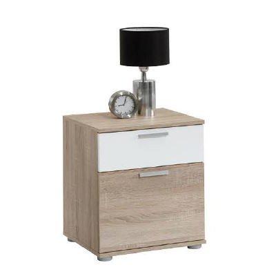 FMD-Wohnwand-Anbauwand-Schrankwand-Jack-3-Nachttisch-mit-Schublade-kleingro-Holz-Chne-SableBlanc-45x38x53-cm