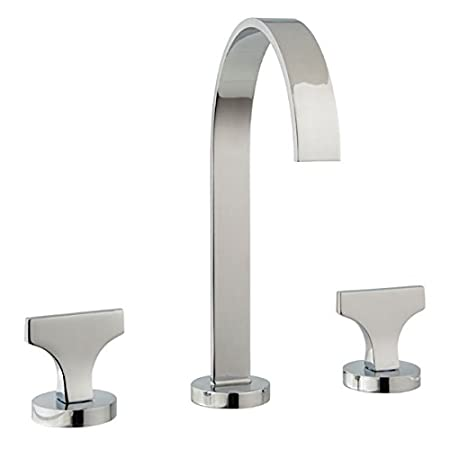 MCN Spring Polished Nickel Widespread Bathroom Faucet Lever Handle and Drain