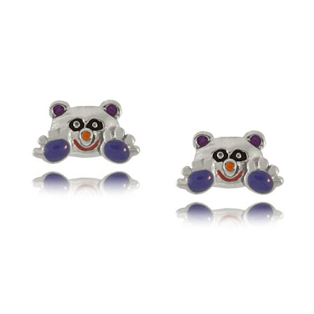 Girl & Baby Panda Earrings in Sterling Silver with Colored Enamel