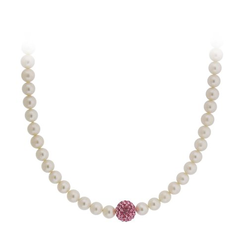 Sterling Silver White Freshwater Pearl and Pink Crystal Fireball Necklace, 18