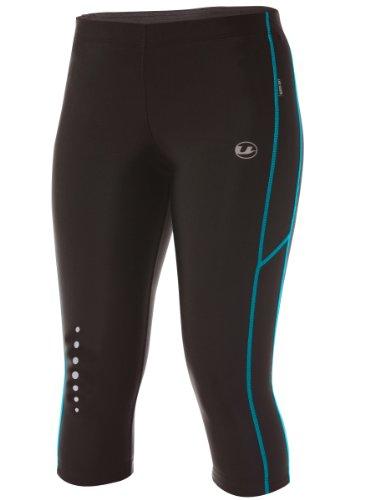 Ultrasport Pantaloni Jogging per Donna con Funzione Quick Dry, 3/4 Lunghezza, Nero/Turchese, S